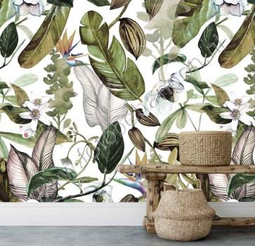 Fotobehang Botanische bloemen en bladeren