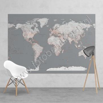 Fotobehang Silver worldmap