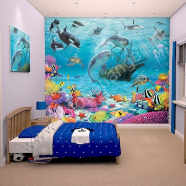 Walltastic onderwaterkamer xxl kinderkamer behang - Water kamer model ...