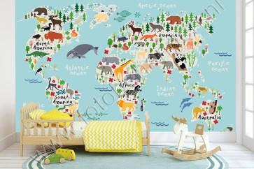 Wereldkaart dierenrijk