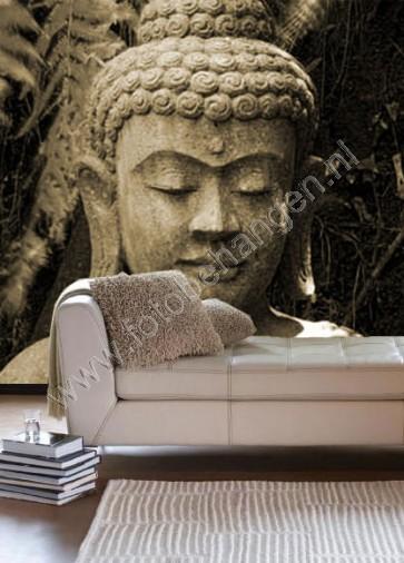 Vlies fotobehang Boeddha beeld Sepia
