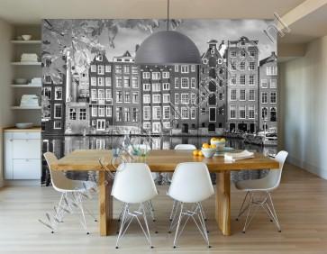 Amsterdamse huisjes zwart wit