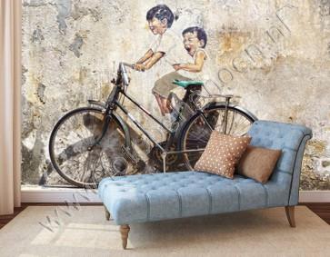 graffiti behang kinderen op fiets