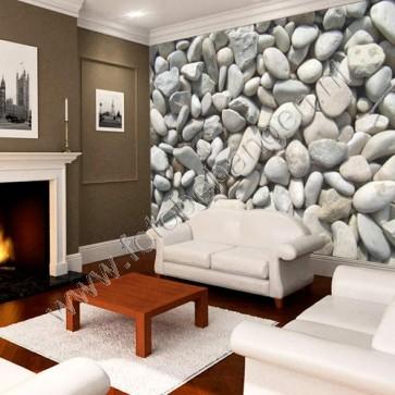 een wand vol met witte stenen