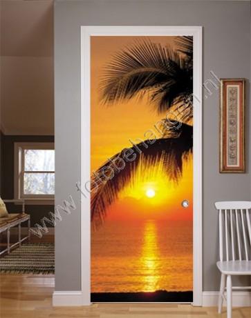 deurposter ondergaande zon