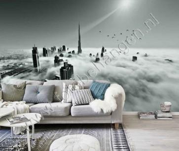 Vlies fotobehang Skyline Dubai in de mist