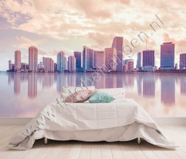 Vlies fotobehang Skyline Miami in pastel