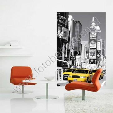 Zwart-wit poster met gele taxi´s