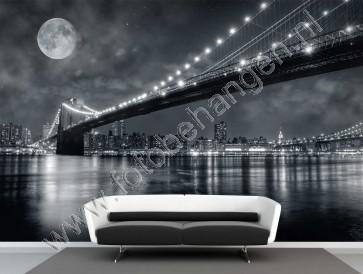 Vlies fotobehang Full moon Brooklyn bridge