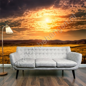 Fotobehang zon tussen wolken over veld