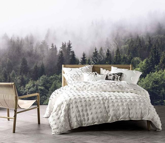 Vlies fotobehang bos in de mist - Behang patroon voor de slaapkamer ...