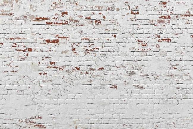 vlies fotobehang witte bakstenen muur   fotobehangen.nl