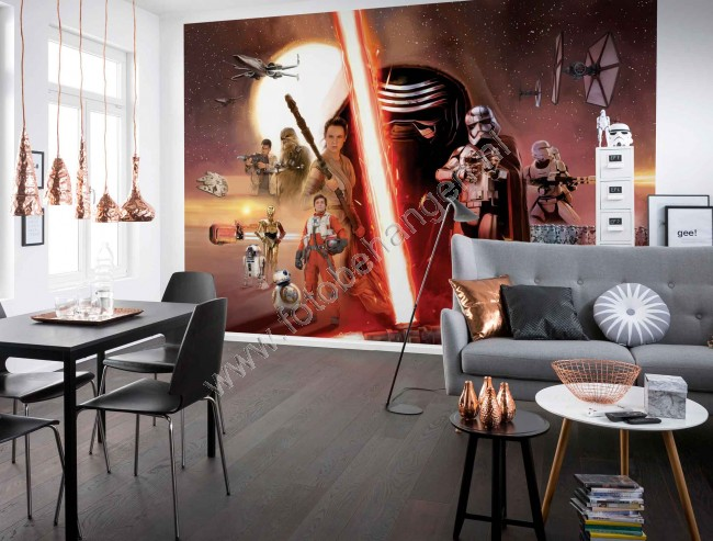 fotobehang star wars ep7 collage. Black Bedroom Furniture Sets. Home Design Ideas