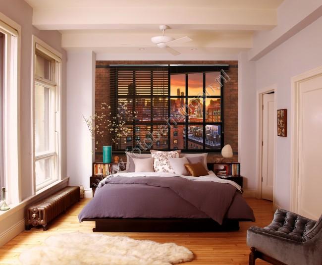 Industrieel Behang Slaapkamer : Fotobehang steen en hout voor een industrieel interieur