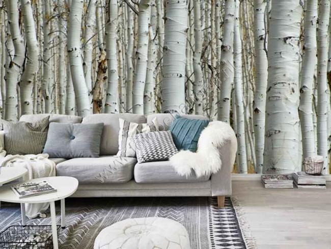 Behang Met Patroon : Behang bomen patroon