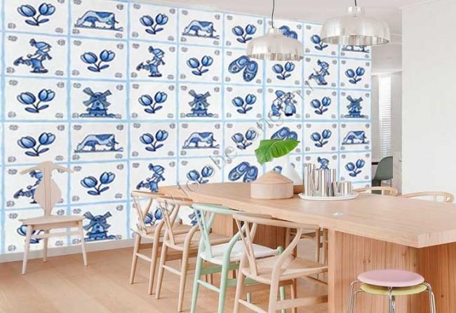 Tegel Delfts Blauw : Een lot van antieke blauw witte en mangane delftse tegels