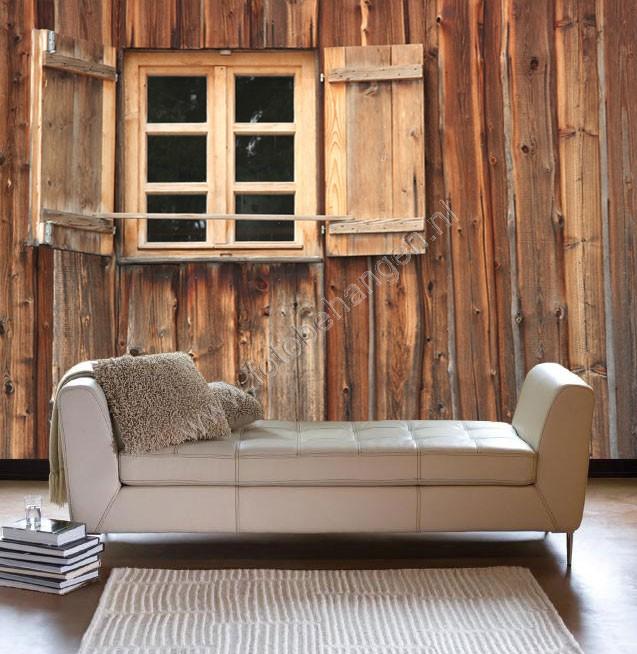 Vlies fotobehang houten venster for Houten decoratie voor raam