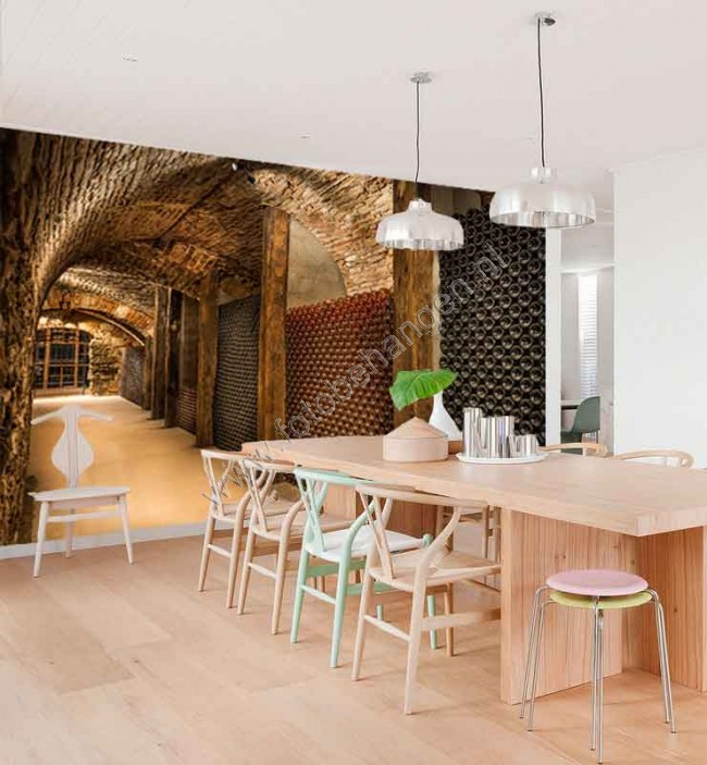 Vlies fotobehang ondergrondse wijnkelder behang voor de keuken - Keuken met wijnkelder ...
