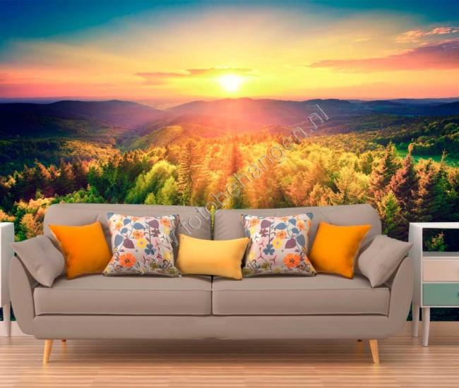 Citaten Over Zonsondergang : Vlies fotobehang zonsondergang over de bosheuvels