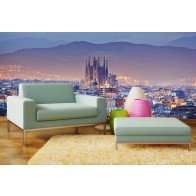 Vlies fotobehang Barcelona Skyline
