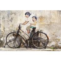 Vlies fotobehang kinderen op fiets