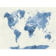 Vlies fotobehang Wereldkaart blauw
