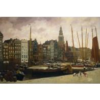 Vlies fotobehang Het Damrak in Amsterdam