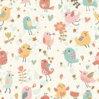 Vlies fotobehang Vogels en bloemen