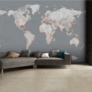 Fotobehang Silver World Map groot