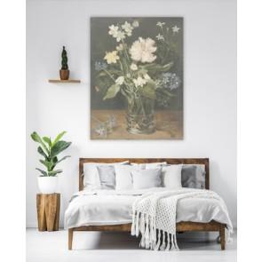 fotobehang Stilleven met bloemen in een glas