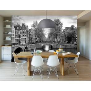 Amsterdamse grachten zwart wit