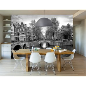 Vlies fotobehang Amsterdamse grachten zwart wit