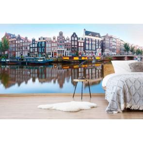 fotobehang Panorama van Amsterdam