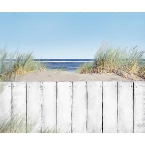 Vlies fotobehang Houten hek op strand