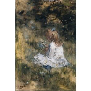 Vlies fotobehang Een meisje met bloemen in het gras