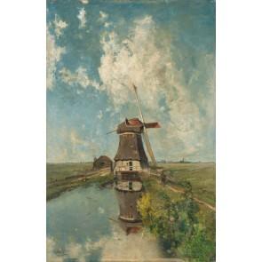 Vlies fotobehang Een molen aan een poldervaart