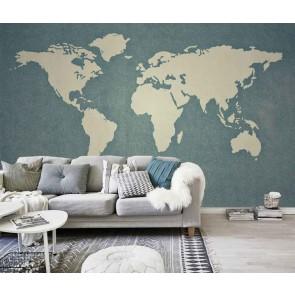 Vlies fotobehang Kaart van de wereld