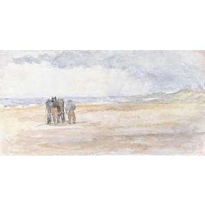 Vlies fotobehang Man met paard en wagen op het strand