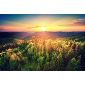 Vlies fotobehang Zonsondergang over de bosheuvels