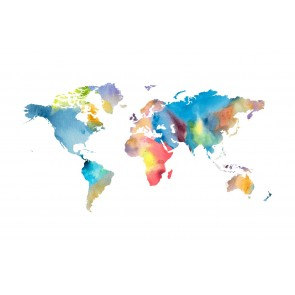 Vlies fotobehang Wereldkaart Aquarel