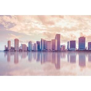 Vlies fotobehang Skyline Miami in pastel