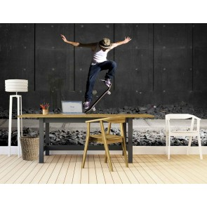 Vlies fotobehang Skateboard stunts