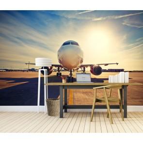 Vlies fotobehang vertrekkende vliegtuig
