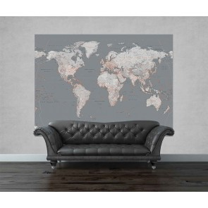Fotobehang Silver World Map